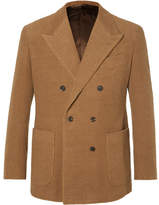 Camoshita Tan Double-breasted Camel And Cotton-blend Corduroy Suit Jacket - Tan