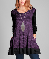 Aster Black & Purple Ruffle-Hem Tunic - Plus Too