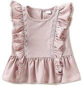 Edgehill Collection Little Girls 2T-4T Flutter-Sleeve Peplum Top