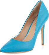 Charles by Charles David Pact Leather Pointed-Toe Pump, Azure