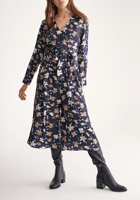 Paisie Petal Print Wrap Front Culotte Jumpsuit with Self Belt in Navy Petal Print