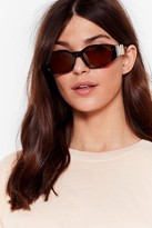 Nasty Gal Womens Tort We'd Find You Here Coin Thick Sunglasses - brown - One Size