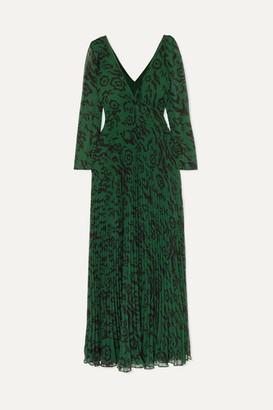 Self-Portrait Pleated Leopard-print Chiffon Maxi Dress - Green