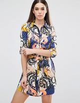 AX Paris Multi Print Belted Shirt Dress