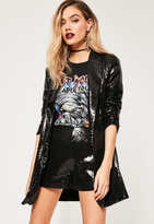 Missguided Black Sequin Longline Blazer
