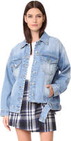 Sjyp Bottom Cut Denim Jacket
