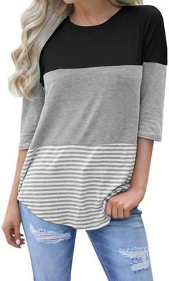 Toamen Summer T Shirt Toamen Women's T-Shirt - Striped Patchwork - Lace - Three Quarter Sleeve Casual Shirt Blouse Tops Tee (Black 12)