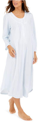 Miss Elaine Brushed Honeycomb Pointelle Knit Long Nightgown
