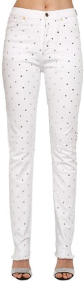 Alexandre Vauthier Crystal Embellished Cotton Denim Jeans