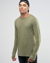 Religion Long Sleeve T-shirt With Stepped Front In Longline
