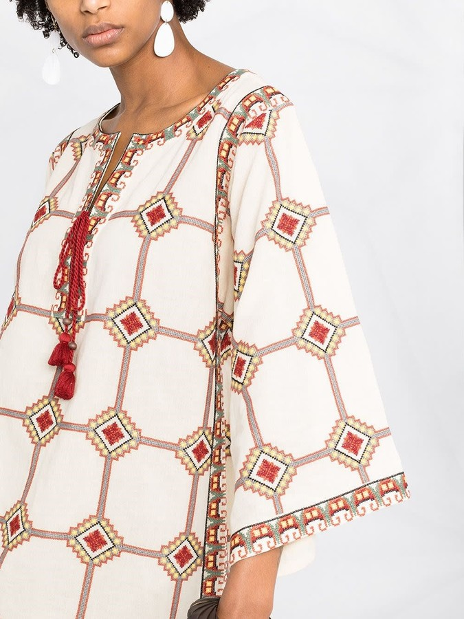 Thumbnail for your product : Tory Burch Caftan Dress Embroidered With Geometric Print