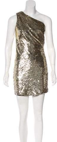ABS by Allen Schwartz One-Shoulder Sequined Dress