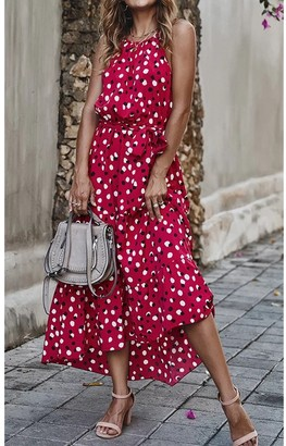 FS Collection Halterneck Tiered High Low Dress In Wine Red & Black Polka Dot