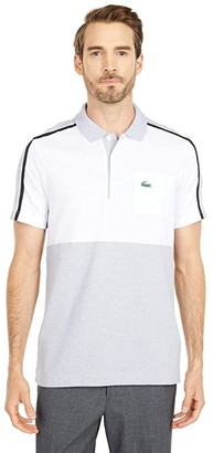 Lacoste Short Sleeve Two-Color Stripe Polo (Silver Chine/White/Navy Blue/Silver Chine) Men's Clothing