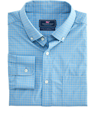 Vineyard Vines Classic Fit Color-To-Color Gingham On-The-Go Performance Murray Shirt