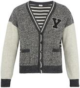 Saint Laurent Y-appliqué intarsia-knit wool cardigan