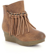 Volatile Girls' Haley Suede Fringe Chain Strap Wedge Boots
