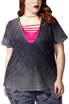 MBLM BY TESS HOLLIDAY Acid Wash 2-Piece Tee (Plus Size)