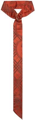 Burberry D-ring Detail Chain Silk Jacquard Skinny Scarf