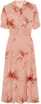Miu Miu Ruffled Metallic Embroidered Georgette Midi Dress - Blush