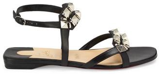 Christian Louboutin Galerietta Studded Flat Leather Sandals