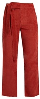 Masscob Frayed-hem cropped corduroy trousers