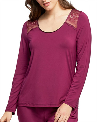 Fleurt Scoop-Neck Long-Sleeve Lounge Top w/ Keyhole Back