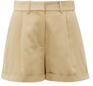 Nili Lotan Napa Flared-leg High-rise Twill Shorts - Womens - Beige