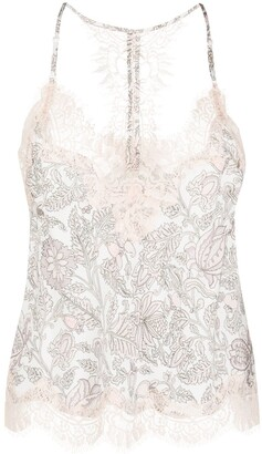 Gold Hawk Lace-Trim Silk Camisole Vest