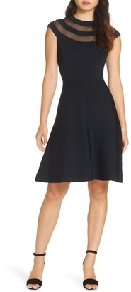 Eliza J Sheer Panel Cap Sleeve Dress (Petite)
