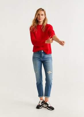MANGO Textured knit sweater red - XS - Women