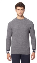 Fred Perry Grey Textured Crew Neck Jumper