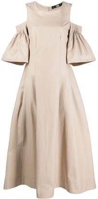 Karl Lagerfeld Paris Cold-Shoulder Flared Dress