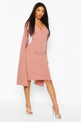 boohoo Cape Sleeve Open Back Midi Dress