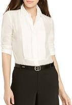 Lauren Ralph Lauren Cotton-Silk Pleat Bib Shirt
