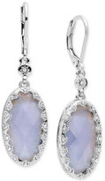 lonna & lilly Silver-Tone Stone and Crystal Oval Drop Earrings
