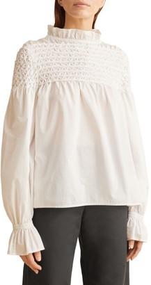 Merlette New York Majorelle Hand-Smocked Cotton Blouse