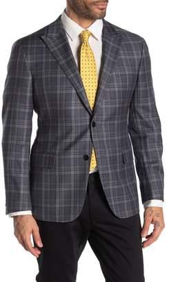 Hickey Freeman Grey Plaid Two Button Peak Lapel Wool Jacket