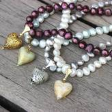 Murano Bish Bosh Becca Pearl Necklace With Gold Flecked Hearts
