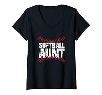Womens Softball Aunt Distressed Cute Women Softball V-Neck T-Shirt