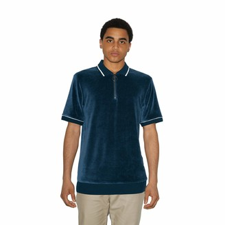 American Apparel Men's Stretch Velour Short Sleeve Zip Up Polo