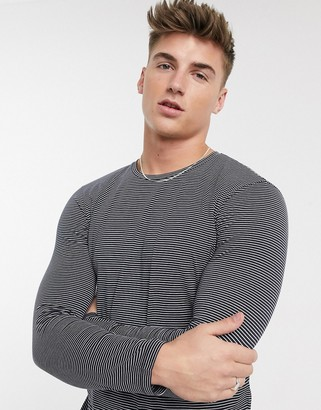 Selected organic cotton long sleeve fine stripe t-shirt in navy