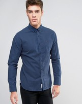 Tommy Hilfiger Star Print Shirt Regular Fit Slub Poplin in Navy