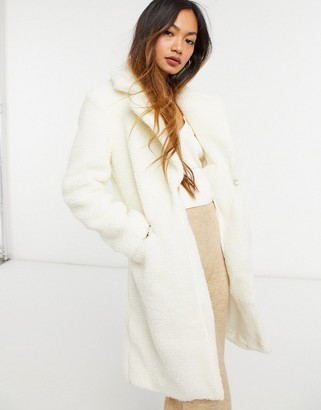 Sixth June longline shearling coat in off white
