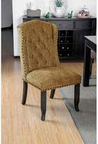 Tompson Tufted Upholstered Wingback Side Chair in Gold Canora Grey