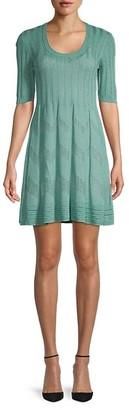 M Missoni Knit Elbow-Sleeve Flare Dress