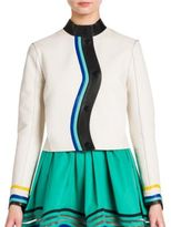Fendi Asymmetrical Button-Front Leather Jacket