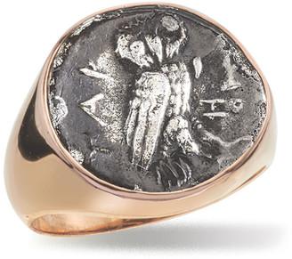 N. Jorge Adeler Men's 18k Rose Gold Ancient Coin Signet Ring