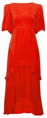 Dorothy Perkins Womens Red Satin Jacquard Midi Skater Dress, Red