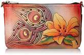 Anuschka Handpainted Leather Convertible Clutch Crystallized W/ Swarovski Peacock Lily